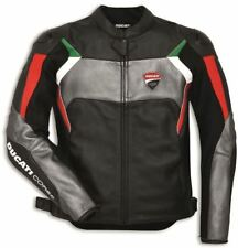 BLACK DUCATI CORSE  MOTORBIKE RACING LEATHER JACKET CE APPROVED