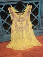 Boutique Bohemian Lace Crochet Ivory Dress Tank Top Illusion Blouse Women Small