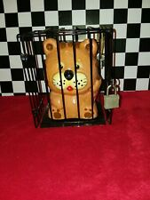 Vintage Tiger In A Cage Coin Bank with Lock & Key