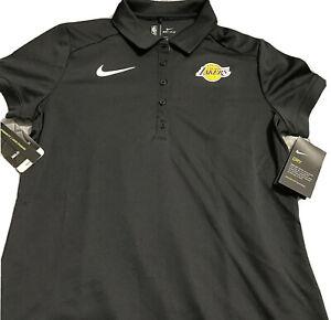 Nike Women's Los Angeles Lakers NBA Polo Shirt Black Dri-Fit Sz L | 864549-010