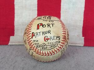 Vintage 1950s Port Arthur Greys Baseball Reach Joe Cronin Trophy Ball US Army TX