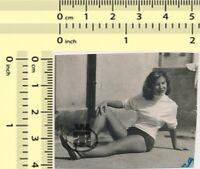 079 Leggy Woman in Shorts Pretty Lady Portrait vintage photo original snapshot