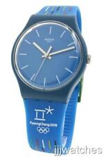 New Swiss Swatch Olympics PETITS BATONS Blue Silicone Watch 41mm SUOZ277 $75
