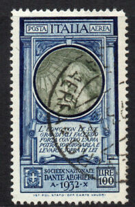 Italy 100 Lire Air Mail Dante Stamp c1932 Fine Used Cat. £800 (5165)