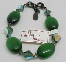 DABBY REID NEW Emerald Green Cats Eye Oval Hematite Plated Bracelet RMB2282B Y23