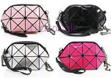 Girls 6107 Mini Cross Body Side Bag Prism Design Glossy Phone Key Holder Shoulde