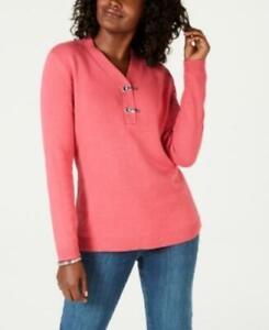 MSRP $47 Karen Scott Hardware V-Neck Cotton Sweater Size XS