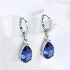 925 Silver Simulated Blue Sapphire 5mm Round and CZ Accents Leverback Earrings
