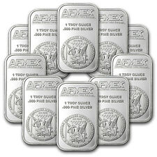 SPECIAL PRICE! 1 oz APMEX Silver Bar .999 Fine Lot of 10 - SKU #81774