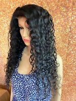 24 INCH HUMAN HAIR LACE FRONT CLOSURE WIG BRAZILIAN REMY SPANISH DEEP WAVY LONG