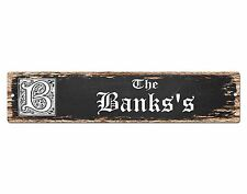 SP0893 The BANKS Family name Sign Bar Store Shop Cafe Home Chic Decor Gift