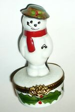 Limoges Box - Rochard - Christmas - Snowman & Scarf & Hat & Umbrella - Holly