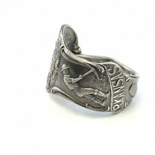 Vintage Arkansas sterling silver souvenir spoon ring size 11 adjustable