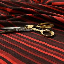 Designer Vertical Striped Pattern Red Soft Chenille Velvet Upholstery Fabrics