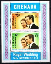 Grenada Royal Wedding Princess Anna and Mark Phillips Souvenir Sheet 1973 MNH