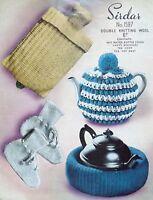 Vintage Knitting Pattern Water Bottle Cover Bed Socks Tea Cosy & Pot Nest S1597