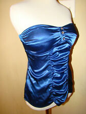 CANDIE'S COBALT BLUE SATIN RHINESTONE STRAPLESS RUCHED BLOUSE TOP SIZE M