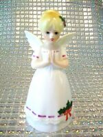*SUPER RARE VTG Christmas Praying Angel Girl Holly Bell Ornament Figurine