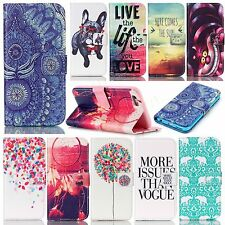 Mobile phone PU leather case wallet cover patterned flip carrying folios stand