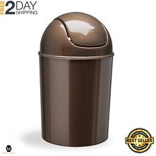 Waste Garbage Basket for Bathroom Trash Can Indoor 1 1/2 Gallon Swing Lid Bronze