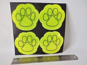 2 sets of 4 x Reflective Stickers Safety Stickers High Vis Visibility PAW PRINT