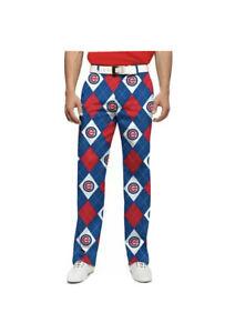 Men's NWT Chicago Cubs LoudMouth Golf Pants Cotton Spandex Blend 34x30  E216
