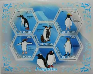 Penguins  birds penguin s/s hexagon shape stamps Tchad 2011 MNH #tchad2011-42