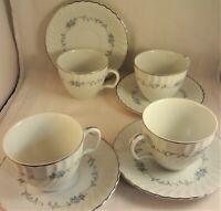 Justina Mikasa Cup & Saucer Sets (4 Pair) Pattern #230 Blue Roses Scrolls