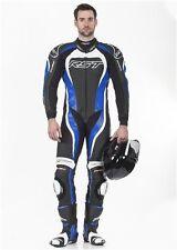 Combinaisons de motocyclette bleues en cuir