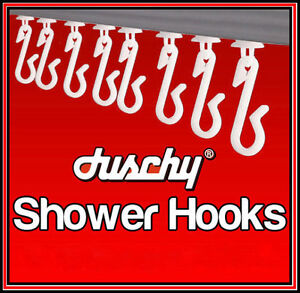WHITE SHOWER CURTAIN HOOKS GLIDERS RUNNERS CLIP TRACK RAIL BATHROOM REPLACEMENT