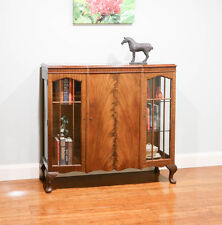 Antique Vintage Style Walnut Bow Front Glass Display Cabinet / Bookcase
