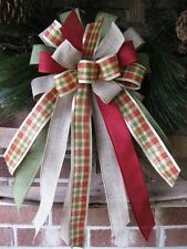 FARMHOUSE PLAID WIRED BOW DOOR WREATH BASKET SWAG LANTERN FENCE POST # B10