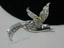 Vintage Silver Sarah Coventry Bird Swallow Ab Rhinestone Brooch Pin