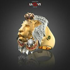 Wedding Jewelry Ruby Lion Rings Size 10 Fashion Men 18K Gold Plated Rings Party