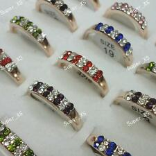 10pcs Full Czech Rhinestones Gold-Plated Rings Wholesale Jewelry Lots women new