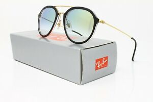 New & Authentic! Ray Ban Sunglasses Pilot Black/Gold w/Clear Gradient Gold Lens