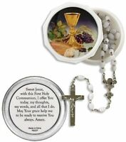 Girls First Communion Gift White Bead Rosary with Body of Christ  Keepsake Case