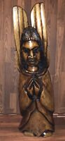 "Unique 18"" Tall Antique Hand Carved Heavy Hard Wood Angel SANTO Folk Art"