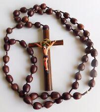 "Vintage Extra Large 64"" Acorn Wood Rosary w/Plastic Jesus Prayer Beads"