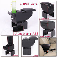 Car 6 USB Rechargeable Charger PU Central Container Armrest Box Storage Case