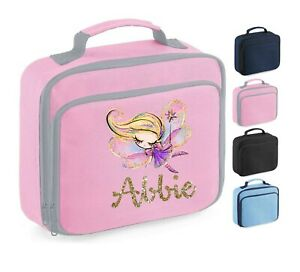 Personalised School Lunch Bag, Girly Fairy Princess + Name, Choice of Colour,111