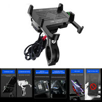Aluminium Motorcycle Phone Holder Mount w/ QC3.0 Fast USB Charger 3.5-6.5 inch