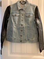 Lisa Rinna Collection Denim Jacket w/Faux Leather Sleeves - Reg 0 - Washed Denim