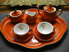 ANTIQUE CROWN STAFFORDSHIRE MINIATURE TEA SET IN ORANGE RUST