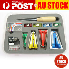 16Pcs/Set Bias Tape Maker Kit for Sewing & Quilting Awl and Binder Foot Tools AU