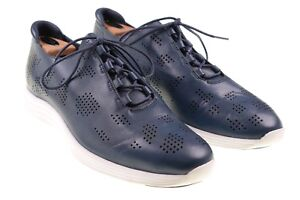 NEW Cole Haan Grand OS Lunar Blue PERFORATED Leather Wingtip Oxford Shoes 11