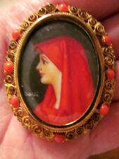 Vintage Hand-Painted St Fabiola Portrait-Italy SIGNED Brooch-800 Gold Vermeil