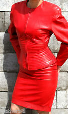 RED LEATHER DRESS SUIT -  RIBBED JACKET and SKIRT - SIZE  8