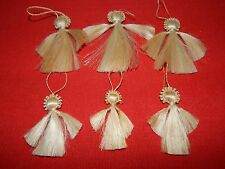 Vintage Lot Of 6 Horse Hair Angel Ornaments 3 large, 3 small