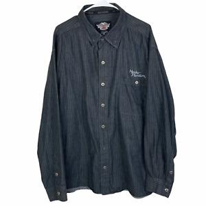 Harley Davidson Button Front Shirt 3XL XXXL Black Gray Striped Motorcycles
